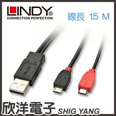 ※ 欣洋電子 ※ LINDY林帝  USB2.0 Micro 資料及雙重手機充電線(31661) 1.5m/1.5米/1.5公尺