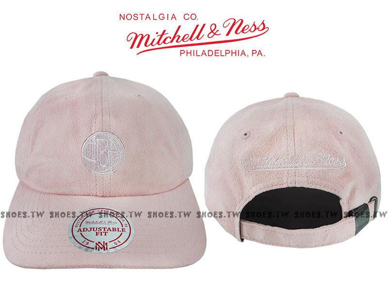 《下殺6折》Shoestw【5056036184752】Mitchell & Ness 老帽 SNAPBACK 籃網隊 粉紅色 麂皮 0