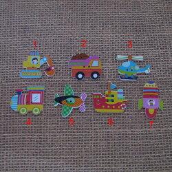 彩色造型木扣 交通工具組 /鈕扣.扣子.DIY裝飾物卡通配飾.手工藝.拼布 手作雜貨