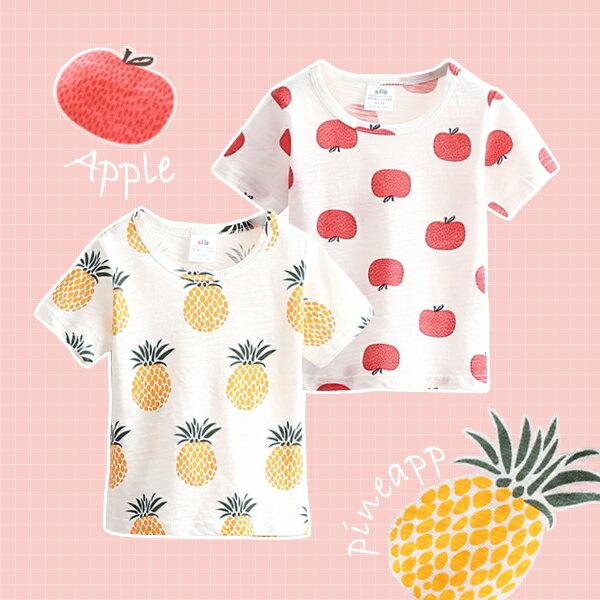 滿版手繪水果圖案圓領短袖上衣0626(鳳梨蘋果)【K12408】