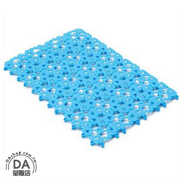 《DA量販店》糖果色 花朵 愛心 夏日 拼接 浴室 止滑墊 防滑墊 藍色(V50-0088)