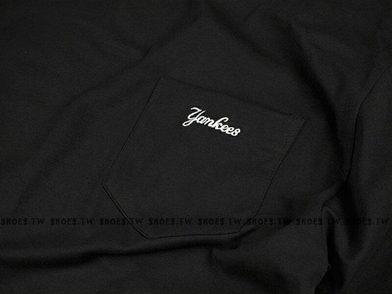 Shoestw【5830238-900】MLB 美國大聯盟 MAJESTIC 短袖 T恤 棉質 寬鬆版 紐約 洋基隊 口袋 黑色 1