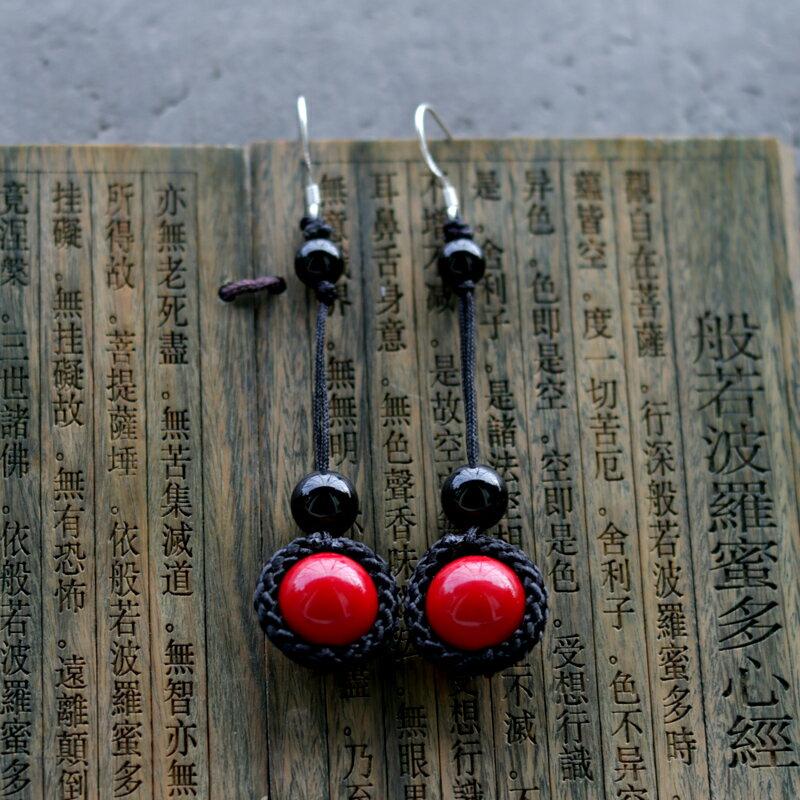 復古民族風耳環中國風紅色珠子云南風情耳墜耳飾楊麗萍風格長耳環