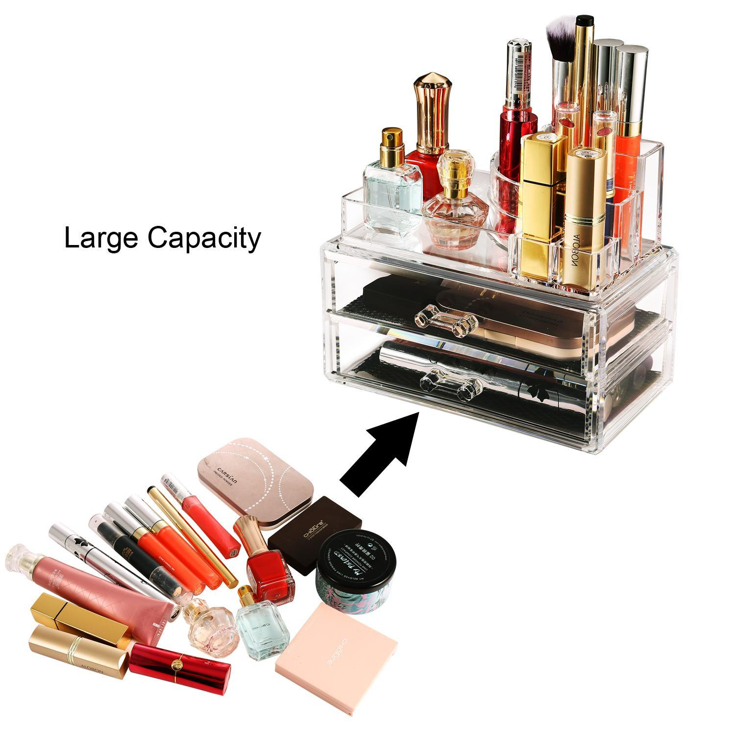 2 Drawer Container Storage Cosmetics Organizer Acrylic Display Tabletop 4