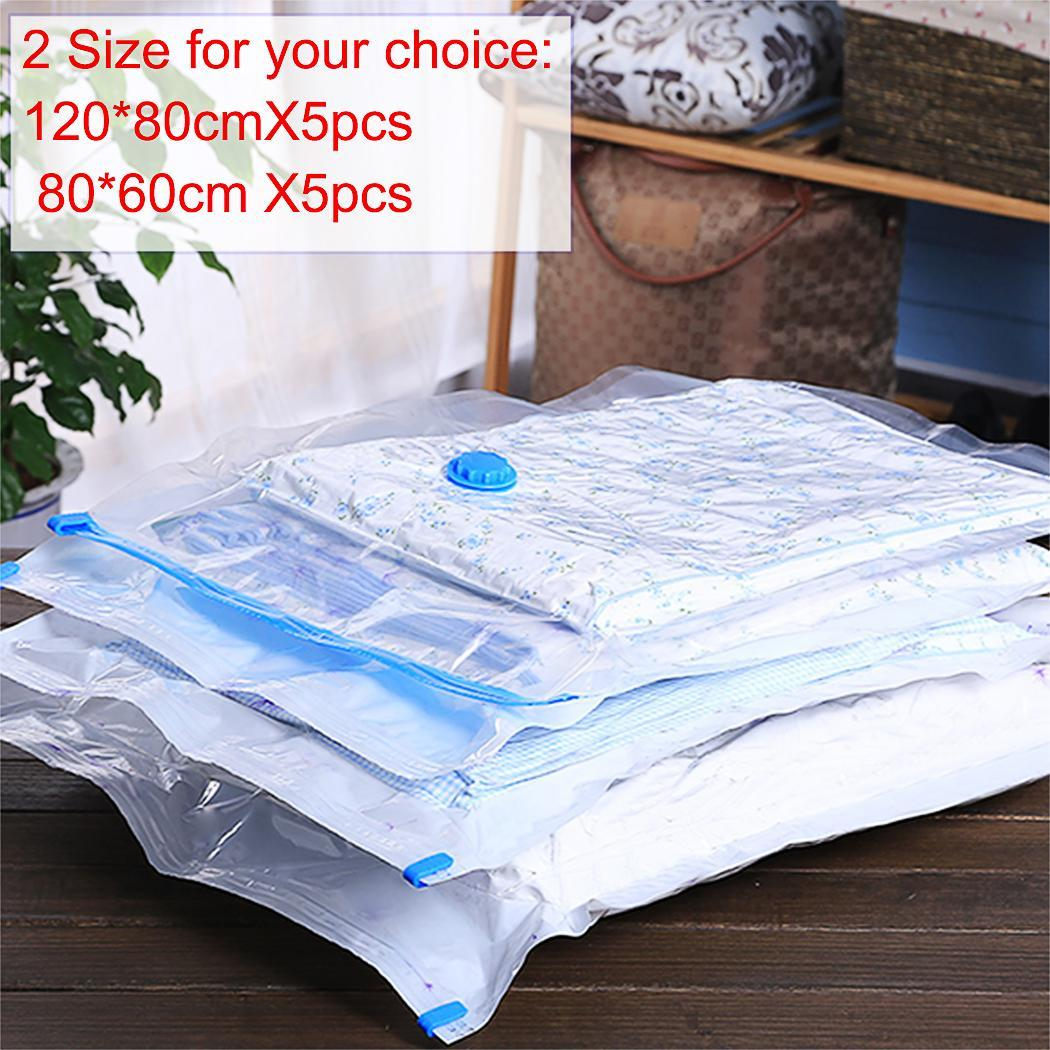 5PCS Seal Compressed Vacuum Bag Organizer Space Saving Storage Bags 1