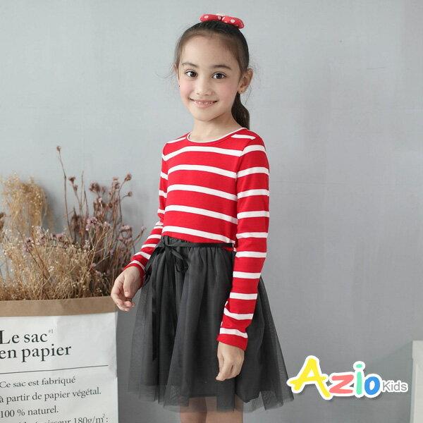 Azio Kids美國派:《美國派童裝》洋裝條紋綁帶網紗長袖洋裝(紅)