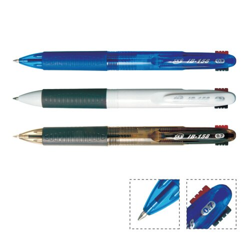 ~SKB~ IB~158白桿0.7mm三色自動原子筆^(12支 盒^)