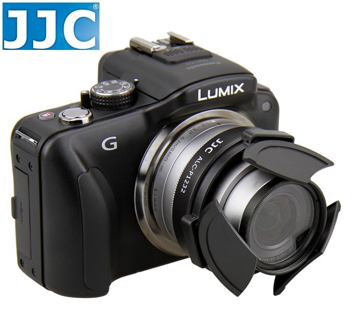 我愛買# JJC黑色銀色Panasonic自動鏡頭蓋12-32mm自動鏡頭蓋f/3.5-5.6自動前蓋HD自動鏡頭保護蓋自動鏡頭前蓋自動Panasonic副廠自動鏡頭蓋12-32mm鏡頭蓋1:3.5-..