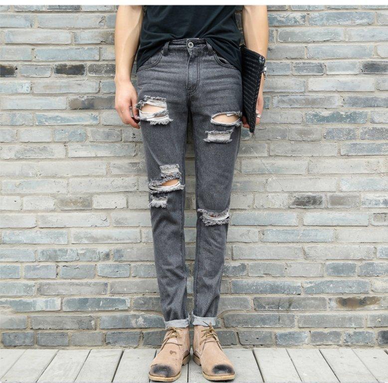 FINDSENSE品牌  韓國 明星 同款多破洞牛仔褲 男 權誌龍同款牛仔褲