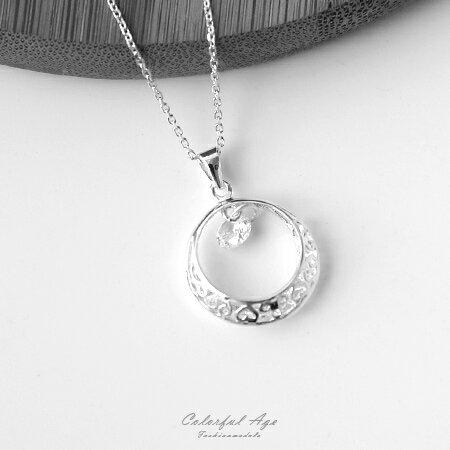 925純銀項鍊 浪漫鏤空彎月星鑽鎖骨鍊頸鍊 甜美氣質 柒彩年代【NPB54】抗過敏設計 - 限時優惠好康折扣
