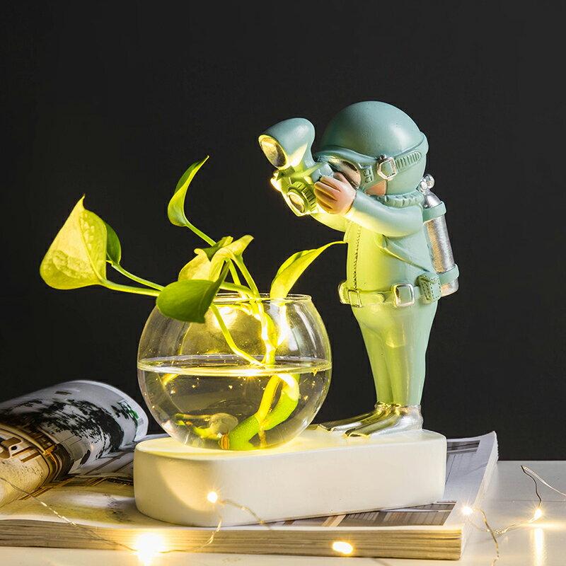 北歐ins創意可愛太空人水培綠植小擺件客廳辦公室奶茶店裝飾擺設SGBS3 愛尚優品