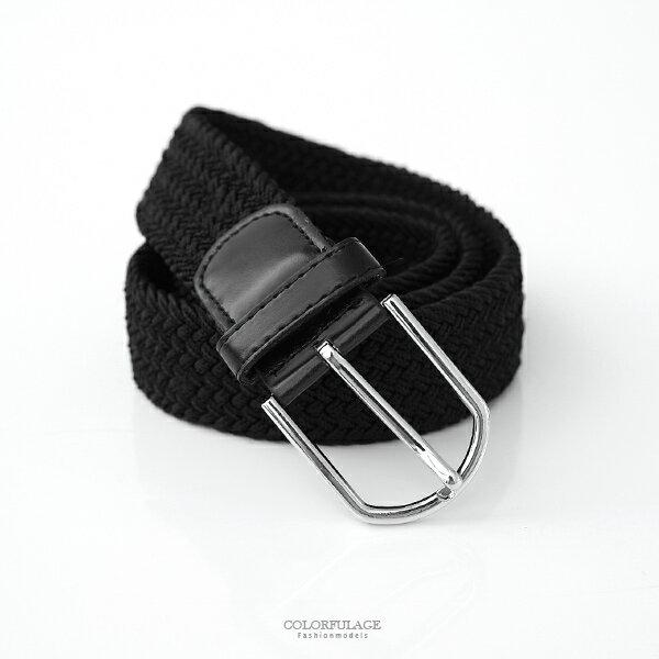 皮帶 低調黑編織帆布腰帶【NK119】柒彩年代