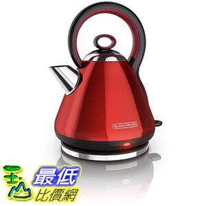 BLACK DECKER 1.7L不銹鋼電動無線電水壺 紅色 KE2900R [美國代購]