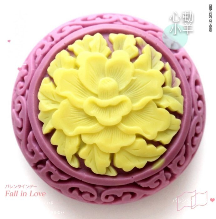 心動小羊^^DIY手工皂工具矽膠模具肥皂香皂模型矽膠皂模藝術皂模具牡丹花寶盒(單孔)