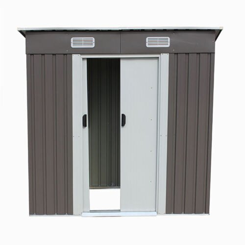 4x6 feet Outdoor Steel Metal Garden Storage Shed Tool House W/ Sliding Door 4