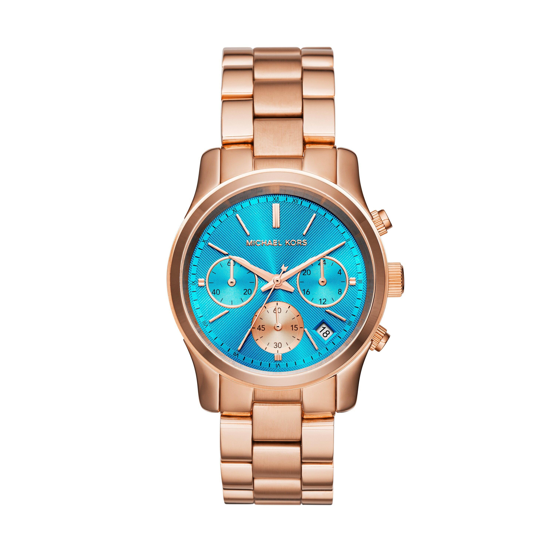 美國 Outlet 美國正品代購 Michael Kors MK 不鏽鋼 藍面 玫瑰金錶帶 三環計時日曆手錶腕錶 MK6164【輸入:coupon03 現折50】 2