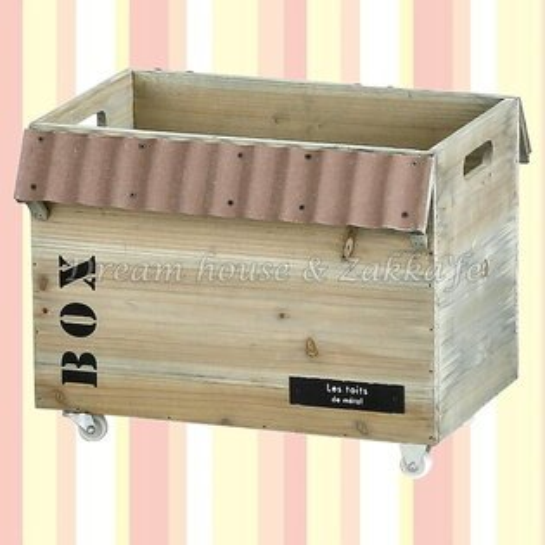 日本HABITER鄉村風Zakka鄉村風紅色屋簷木製收納箱置物箱收納盒《輪子款》★日本原裝進口★夢想家精品生活家飾