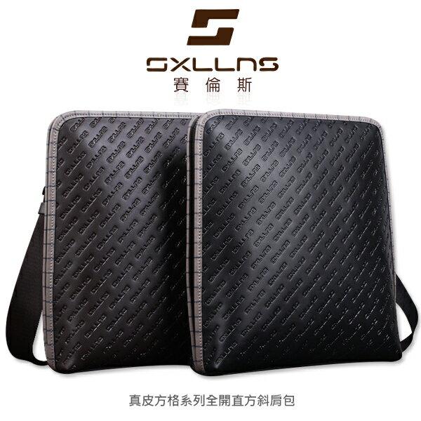 強尼拍賣~ 現貨出清 SXLLNS 賽倫斯 SX-D3068-1 真皮方格系列全開直方斜肩包 商務包 真皮包 側背包