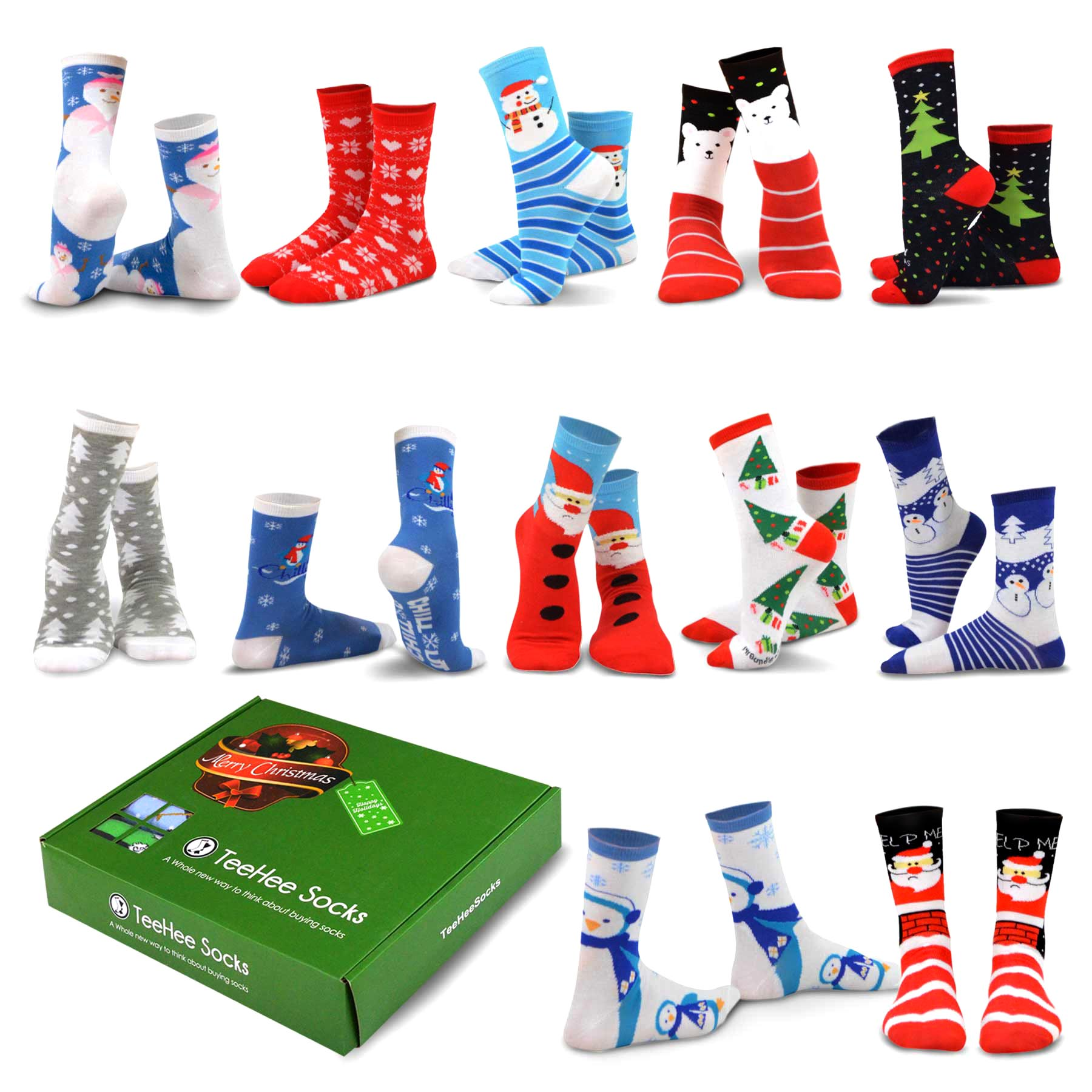 7f2fd988412 TeeHee Christmas Holiday 12-Pack Gift Socks for Men with Gift Box (Holiday-