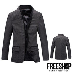 《Free Shop》西裝外套 Free Shop【QH008】韓版時尚雙開滾邊混羊毛質感硬挺修身墊肩休閒西裝外套