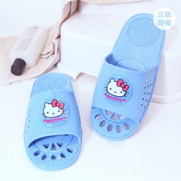 HELLO KITTY 室內浴室拖鞋-可愛藍 塑膠拖鞋 Sanrio 三麗鷗 [蕾寶]