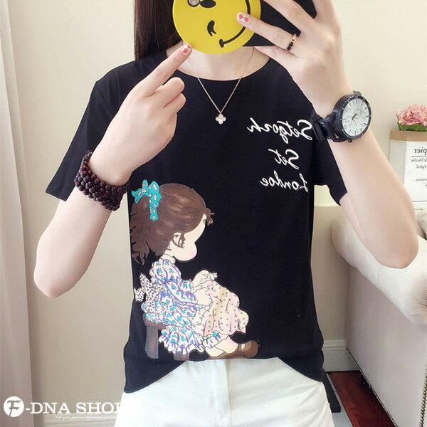 F-DNA★清新小女孩側影印圖圓領短袖上衣T恤(3色-M-2XL)【ET12698】 5