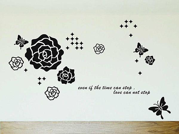 BO雜貨【YV2932】可移動 時尚組合創意壁貼 牆貼 壁貼紙 黑 玫瑰薔薇 蝴蝶 花蝶共舞牆
