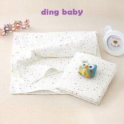 ding baby 純棉紗布大浴巾/包巾/薄被-粉點-2入【小丁婦幼】