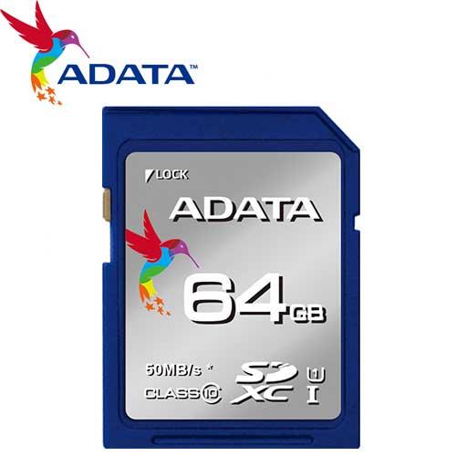 ADATA 威剛 64GB 50MB/s SDXC SD UHS-I C10 記憶卡