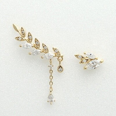 925純銀耳環鑲鑽耳飾~ 氣質不對稱葉子情人節生日 女飾品3色73du1~ ~~米蘭 ~