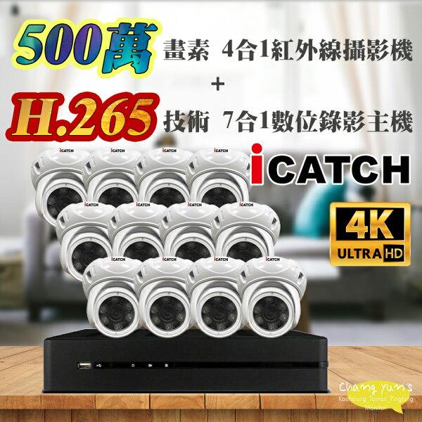 高雄台南屏東監視器可取套餐H.26516路主機監視器主機+500萬400萬畫素半球型紅外線攝影機*12