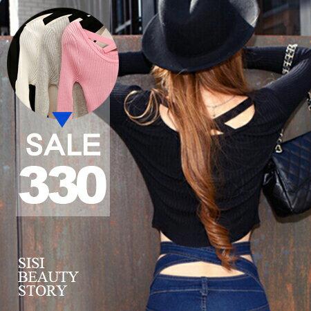 SISI【L5002】誘人曲線 性感背交叉長袖羅紋短版上衣素色長袖圓領修身小可愛