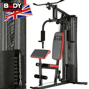 【BODY SCULPTURE】配重片150磅綜合重量訓練機(附護網+二頭肌板)多功能舉重床.槓鈴啞鈴舉重力設備.運動健身器材ptt MC016-4302