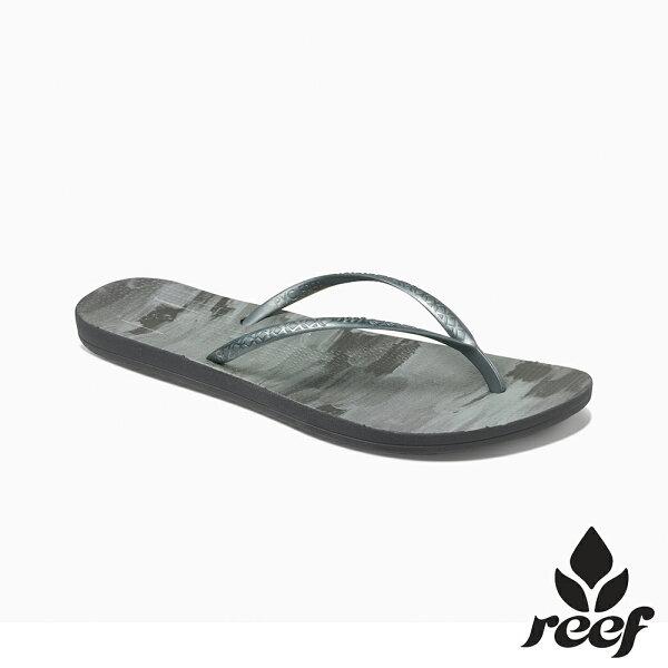 【新品上市↘】REEFESCAPE人體工學超Q彈橡膠舒適好穿防滑耐磨女款橡膠夾腳拖人字拖鞋.黑漆RF0A3FERKAN