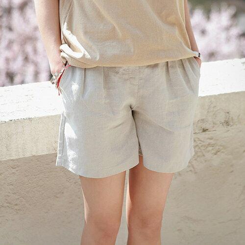 *ORead*韓版棉麻闊腿短褲(4色M~4XL) 3