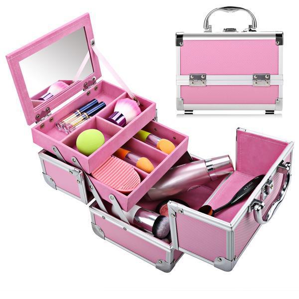 Mini Portable Aluminum Cosmetic Box + Mirror + 2 Keys 2