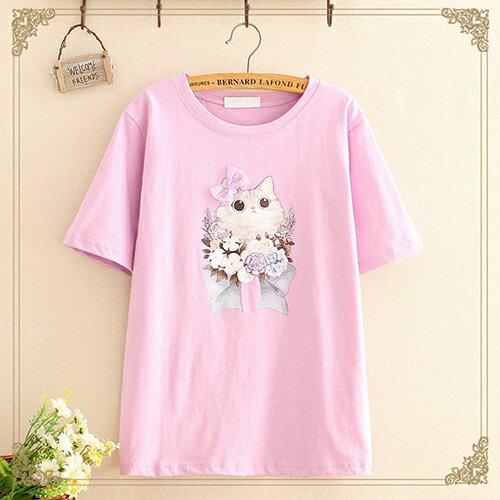 貼布蝴蝶結印花圓領短袖T恤(4色F碼)【OREAD】 1
