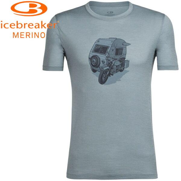 Icebreaker排汗衣短袖T恤美麗諾羊毛TechLite男圓領短袖上衣JN150IB104135002重機野營灰水藍