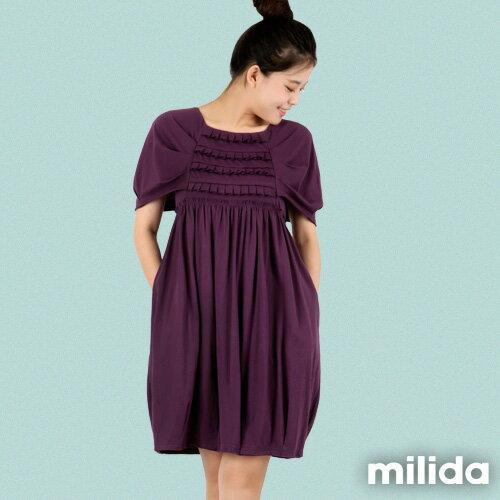 【Milida,全店七折免運】-春夏商品-甜美款-公主袖洋裝 7