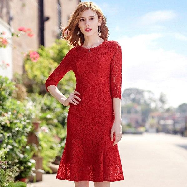 灰姑娘[68037-KF]紅色蕾絲撫媚修身魚尾裙洋裝聖誕服飾~