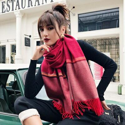 【米蘭精品】圍巾仿羊絨披肩-秋冬拼色條紋兩用女配件5色73ub46