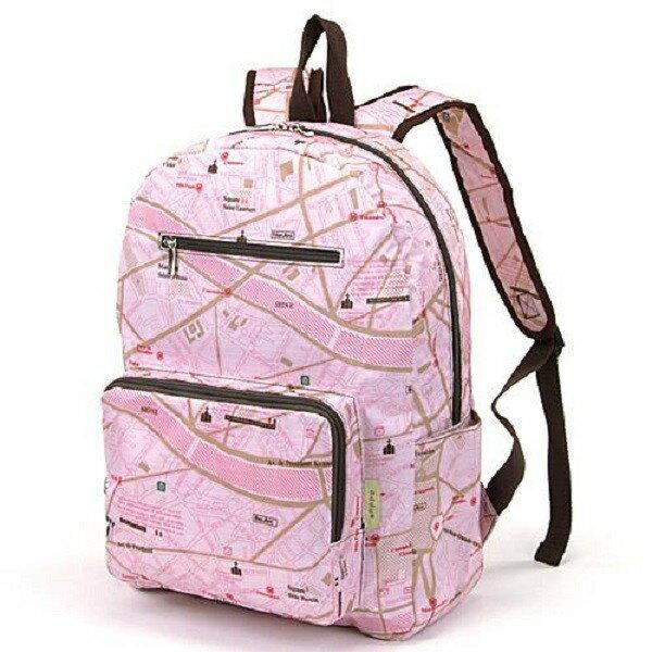 【現貨+預購】摺疊收納旅行後背包 -日本設計款 粉紅條紋 - 限時優惠好康折扣