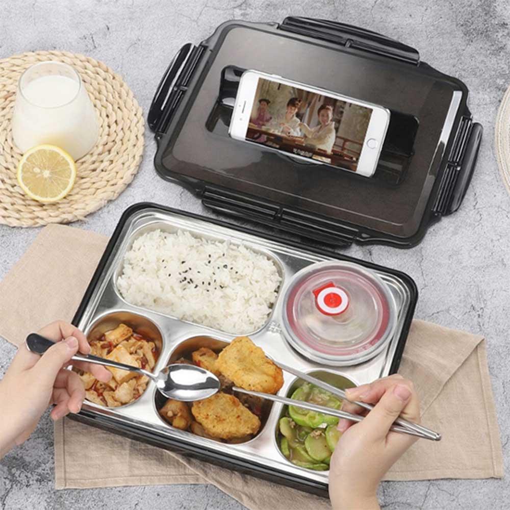 加大款 北歐304不鏽鋼分格便當盒 (附餐具+湯碗) 餐盒 保溫飯盒 餐盤 3
