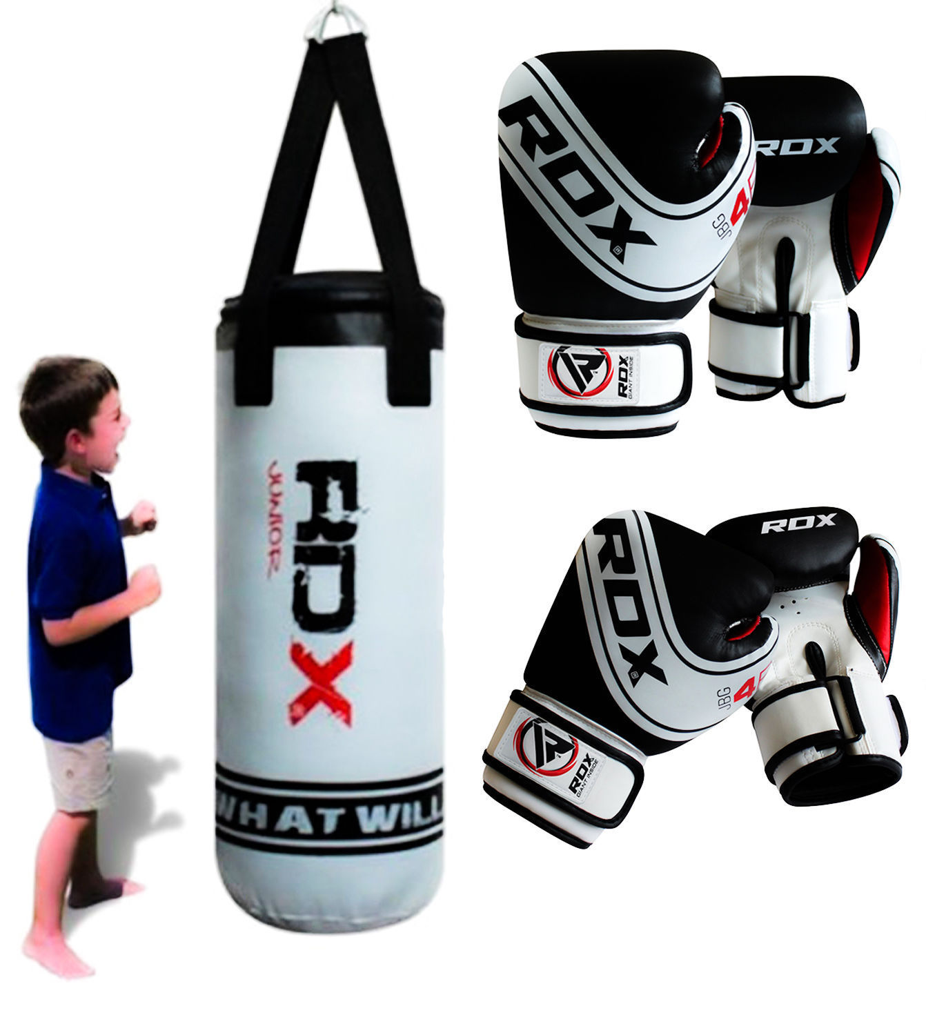 Rdx Heavy Kids Set 3ft Punching Bag Punch Youth Kick Boxing Gloves Unfilled 0