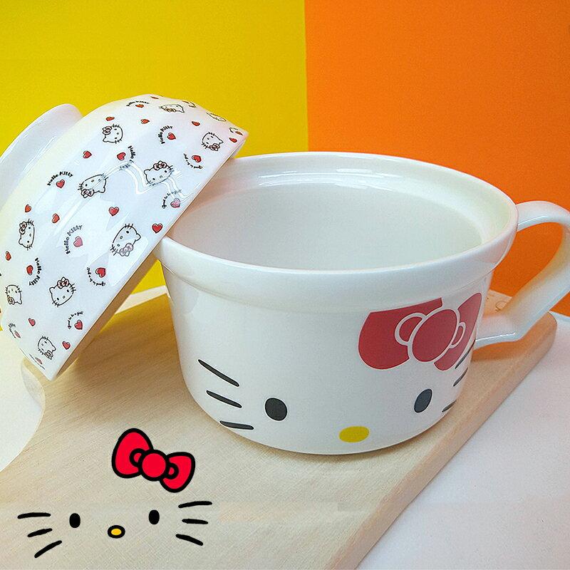 〔小禮堂〕Hello Kitty 陶瓷單耳碗蓋湯杯《紅白.大臉》泡麵碗.碗公 0