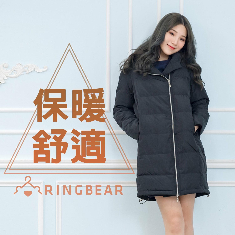 保暖--簡約質感連帽雙頭拉鍊側邊口袋收繩下襬羽絨棉外套(黑XL-3L)-J327眼圈熊中大尺碼 0