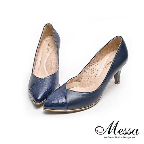 <br/><br/> 【Messa米莎專櫃女鞋】MIT全羊皮經典時尚鱷魚皮壓紋拚素面高跟鞋-藍色 現貨+預購<br/><br/>