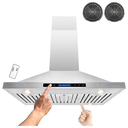 "36"" Stainless Steel Island Mount Dual LED Touch Control Panel Kitchen Ductless Range Hood w/ Remote 0"