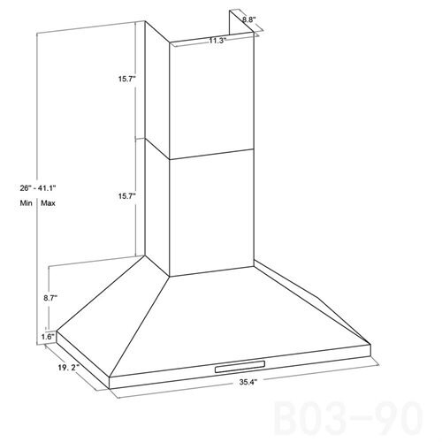 """36"""" Wall Mount Stainless Steel Touch Control Ductless Kitchen Range Hood AKRH0202 3"""