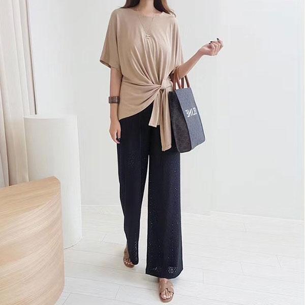ANNAS 正韓 薄款 不規則 側綁素T 短袖 棉T 造型 設計師款 素面 顯瘦 百搭 氣質 上班族 韓國